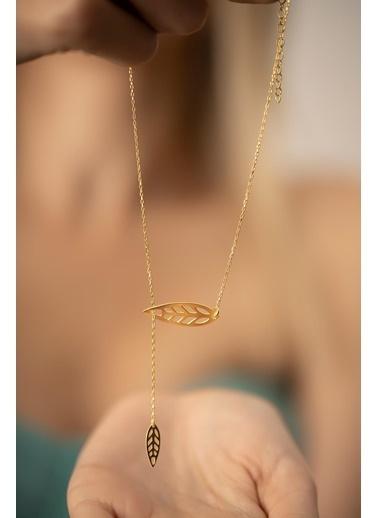 İzla Design Izla Desing Ikili Yaprak Model Kaplama 1.5 Gr  Kadın Kolye Gümüş